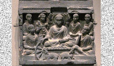 depiction of Buddh's preaching at Sarnath